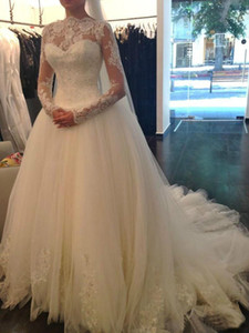 Wholesale New Lace Ball Gown long Sleeve Wedding Dresses O neck Princess Applique diamonds Ball Gown Bridal Gowns robe de marriage