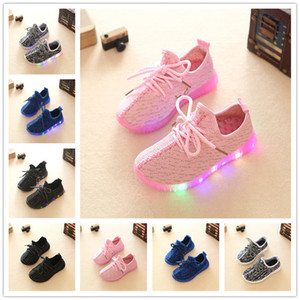 Wholesale 2017 Hot New Led Shoes For Kids Children Shoes Autumn Breathable Shoes For Girls Boys Kids Sport Brand Light Size 21-35