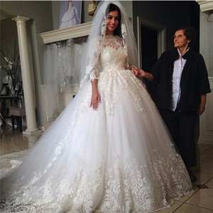 Chinese Wedding Dress Vestido De Noiva Vintage 2019 Newest Princess Ball Gown Wedding Dresses with Sleeves