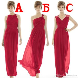 Formal Dresses Cheap Bridesmaids Red Chiffon Gowns Floor Length Included A Jewel Neck B One shoulder Neck C V Neck Beautiful Pageant on Sale
