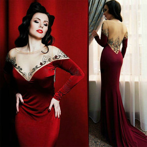 yousef aljasmi illusion back prom dress Sexy V Neck Long Sleeves Mermaid Satin Long Formal Evening Party Dresses on Sale