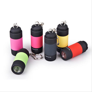 Portable Mini Work Light Torch Micro USB Charging Flashlight Keychain USB Rechargeable 7 Colors Torch Flash Lamp