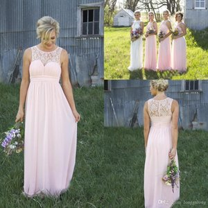 Wholesale blush maternity bridesmaid dresses resale online - 2017 Country Garden Style Blush Pink Sheer Crew Lace Neck Cheap Chiffon Bridesmaid Dress Illusion Back Maternity Long Maid Of Honor Dresses