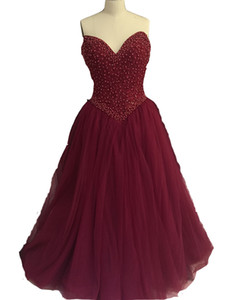 2017 New Real Image Prom Dresses Sweetheart Burgundy Lace Crystal Beaded Pearl Tulle Ball Gown Evening Dress Party Pageant Formal Gowns on Sale