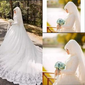 2017 Vintage Lslamic Muslim Wedding Dresses Luce High Neck Long Sleeves Zipper Chapel Train Applique Sheer Neck Straps Bridal Gowns on Sale