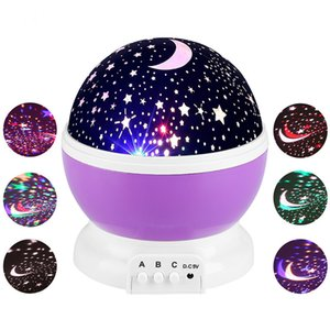Wholesale Starry Sky LED Night Light Star Projector Lamp Luminaria Moon Novelty Rotary Flashing Nightlight For Kid Children Baby Q0010