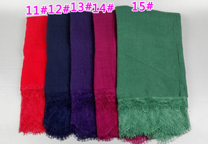 Wholesale solid cotton shawls scarves resale online - color ladies Solid color small lace floral fashion high quality cotton long shawls muslim hijab wrap scarves scarf