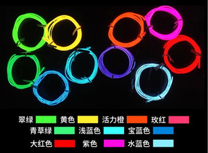 Wholesale 3m Flexible LED Neon Light Glow EL Wire Rope tube Cable Strip Shoes Clothing Car party decorative blue red green pink yellow purple white