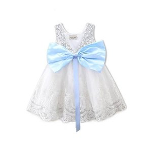 Wholesale Girls Party Dress New Lace Sequins Baby Blue Butterfly Knot Sequined Dresses Kids Bow Clothing Straps Princess Wedding Bubble Skirt