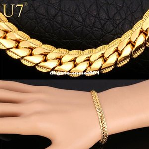 Gold Plated Chain Bracelet Men Jewelry Gift Wholesale 3 Colors Trendy 6MM Wide Chain & Link Bracelet H339 on Sale