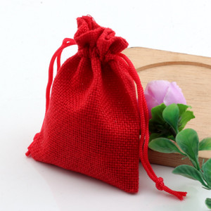 Wholesale fabric drawstring bags resale online - Hot Linen Fabric Drawstring Bags Burlap Pouches Red Gift x18cm x14cm Jewelry x20cm Jute Candy Mntuv