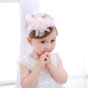 New Arrival Lovely Baby Girls Head Pieces With Tulle Flower Ball Hair Band Lace Headband Summer Hot Sale Kids' Accessories