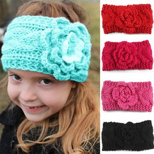 Wholesale Hot Autumn Winter Europe Baby Flower Knitted Headbands Girls Hair Bands Childrens Warm Crochet Hair Accessories Lovely Kids Headwrap Color