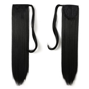Wholesale Top Selling Brazilian Hair silky Straight Drawstring Ponytail Wrap Around Pony tail Natural black b women Hair Extensions g g