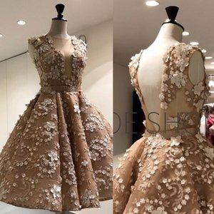 Wholesale 2018 New Arrival Short Party Dresses 3D Floral Appliqued Beaded Sheer Plunging Neckline Prom Gowns Mini Cocktail Dress
