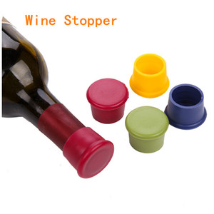 Hot sales Simple Western style Silicone Wine Bottle Stoppers Kitchen Bar Tools Blue,Coffee,Green,Red,Yellow on Sale
