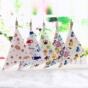 Wholesale 100pc Press Button Double Layers Baby Bibs Cotton Triangle Head Scarf Boy Kerchief Girl Babador Bandana Dribble Bib multicolors