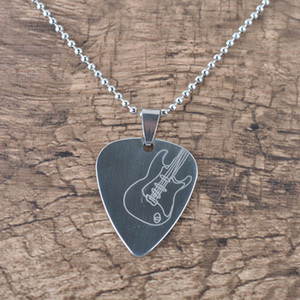 Guitar Pick Pendant Necklace Chain Metal for Electric Guitar Bass-Silver