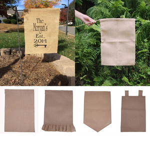 Wholesale DIY Burlap Garden Flag cm Jute Ruffles Linen Yard Hanging Flag House Decoration Portable Banner Styles Free DHL WX9