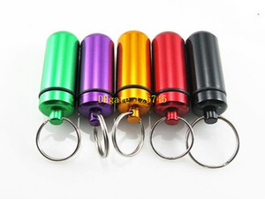 Wholesale 5pcs Aluminum Pill Box Case Bottle Holder Container Keychain Medicine Organizer Container medicine bottle anodic oxidation box