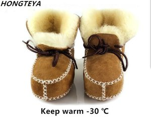 Wholesale New sheepskin Genuine Leather Wool fur baby boy Winter boots infant girls warm Moccasins shoes with plush lace up booties