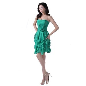 Wholesale Fashion Ladies Green Chiffon Short Dresses Above Knee Strapless Sweetheart Party Dress Beaded Appliques Attractive Design