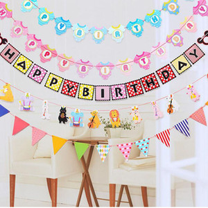 Wholesale Baby Shower Cute Bunting Banner Dress Boy Girl Animal Cartoon Pennant Birthday Party Decorations Kids Room Ornament Flags ZA2957