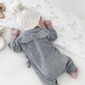 Wholesale Newborn Infant Baby kids clothing Boys Girls Back Wings Jumpsuit Bodysuit Romper Outfit Set Long Sleeves Jumpsuit with Wing at Back Wings