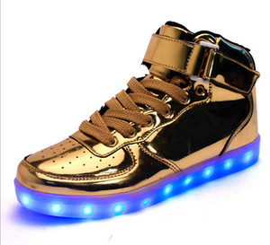 Wholesale Gold LED light up shoes High Top USB charging ghost LED luminous breathable luminous shoes sneakers Men women shoes