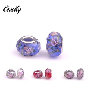 Mixed New Handmade Flower Lampwork Glass Big Hole Beads Fit Pandora Charms Bracelets Jewelry DIY Pandora Charms Beads