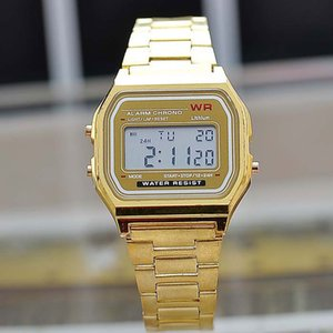 Hot Fashion metal watchband LED electronic table watch Gold digital luminous watches