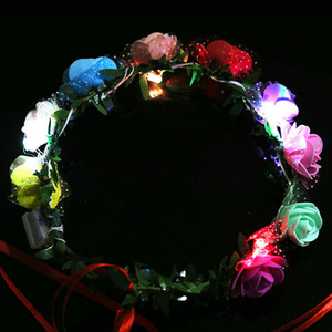 Wholesale Nine Flowers Garland Hand Made Flash Floral Hoop LED Light Up Foam Wreath Glowing In The Dark 2 7mw B R