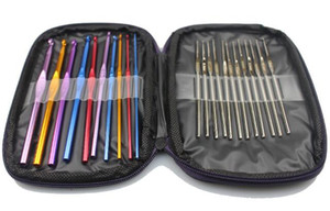 Wholesale top quality Set Multicolour Aluminum Crochet Hook Knitting Kit Needles Set Weave Craft Yarn Stitches With bag