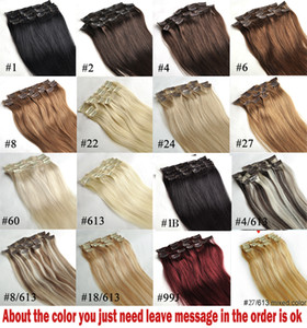 "ZZHAIR 16""-32"" 100% Brazilian Remy Human hair Clips in on Human Hair Extension 7pcs set Full Head 70g 80g 100g 120g 140g on Sale"