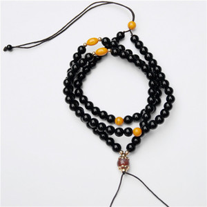 Wholesale Black agate chalcedony beeswax hang woven lanyard jadeite jade pendant necklace hang on the rope