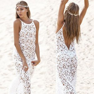 Wholesale Women Summer Maxi Dress Female Backless Bohemian Hippie Long White Beach Dress hollow out Lace Gown Rend Worldshine Frock