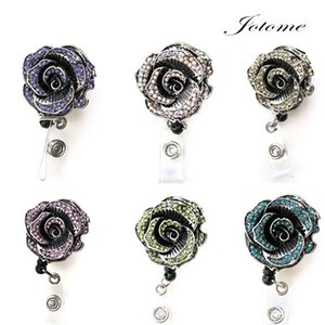 Wholesale 100PCS China Wholeasale New Colorful Sparkly Rose Rhinestone Retractable Badge Reel Rhinestone ID Badge Holder Nurse Retractable