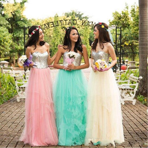 cheap A-line bridesmaid dress sweetheart sequin tulle floor length sleeveless fashion in stock bridesmaid dress free shipping