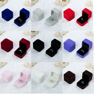 Wholesale Square Velvet Ring Retail Box Colors Available Wedding Jewellery Earring Ring Holder Storage Box Gift Packing Box For Jewelry