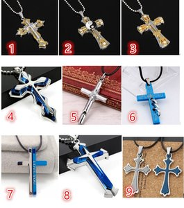 Wholesale New Men s Cool Silver Blue Silver Stainless Steel Mixed Cross faith Pendant Black Rope Chain Necklace Accessories Best wishes gift
