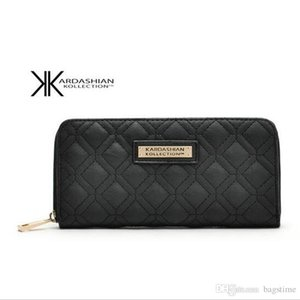 Wholesale New White Black Kk Wallet Long Design Women Wallets PU Leather Kim Kardashian Kollection High Grade Clutch Bag Zipper Coin Purse Handbag