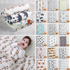 Wholesale Muslin Cotton Baby Swaddle Patterns Cute Printing cm Newborn Swaddle Wrap Multi Use Baby Nursing Covers Towels