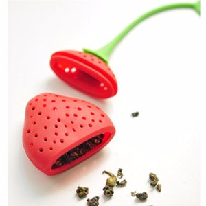 Wholesale Lovely Food Safe Silicone Red Strawberry Shape Tea Strainers Leaf Hold Tea Bag Coffee Punch Filter Tea Infuser Teapot