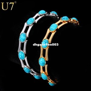 Wholesale U7 New Fashion Turquoise Bracelets For Women Gold Plated MM Wide Chain Turkey Stone Bracelets Bangles Jewelry H340
