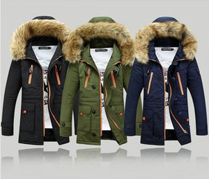 Wholesale Hot Winter Cotton Coat Men Thickness Wadded Jacket Fur Collar Hoodies Slim Patchwork Parkas Casual Warm Snow Overcoat