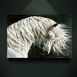 Modern Abstract Canvas Art White Horse Head Oil Painting Print on Canvas Wall Art Decor Canvas Poster Pictures for Living Room