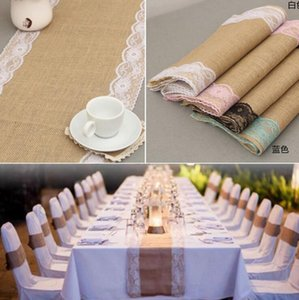 Wholesale Vintage Burlap Lace Table Runner cm Jute Decor Tablecloth Imitated Linen Table Runner Wedding Party Table Decoration OOA2714