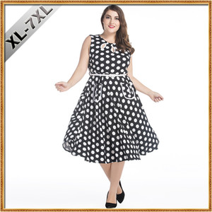Wholesale Women Oversize Clothing XL Retro Fashion Hepburn Style s Vintage Dress Wave Point Plus Size Dress for Fat Women