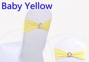 Wholesale Baby yellow colour Crown buckle lycra sash for wedding chairs decoration spandex band stretch bow tie lycra ribbon belt on sale