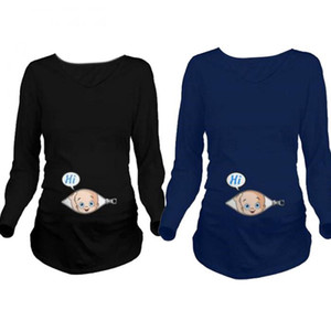 Wholesale 2017 Cartoon Funny Maternity Shirts Pregnancy Long Sleeve Tee Shirt Pregnant Women Autumn Winter Basic T shirt Tops
